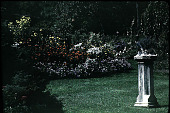 view [Seven Oaks]: garden and sundial. digital asset: [Seven Oaks] [slide]: garden and sundial.