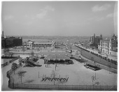 view [DeWitt Clinton Park]: an aerial view of the park, looking toward the Hudson River. digital asset: [DeWitt Clinton Park] [glass negative]: an aerial view of the park, looking toward the Hudson River.