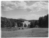 view [Miscellaneous Sites in the Adirondack Mountains]: the Crescent Bay area on Lower Saranac Lake, looking south. digital asset: [Miscellaneous Sites in the Adirondack Mountains] [glass negative]: the Crescent Bay area on Lower Saranac Lake, looking south.