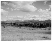 view [Miscellaneous Sites in the Adirondack Mountains]: looking across a field and woods toward the High Peaks from an unidentified location near Lake Placid. digital asset: [Miscellaneous Sites in the Adirondack Mountains] [glass negative]: looking across a field and woods toward the High Peaks from an unidentified location near Lake Placid.