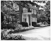 view [Merson Garden]: front of house with azaleas. digital asset: [Merson Garden] [contact print and photographic print]: front of house with azaleas.