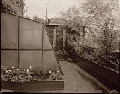 view [Unidentified Garden in New York, New York, No. 3]: greenhouse and raised beds. digital asset: [Unidentified Garden in New York, New York, No. 3] [photonegative]: greenhouse and raised beds.