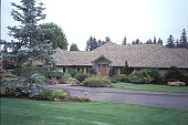 view [Birds and Bees]: front of house with an Abies concolor on left. digital asset: [Birds and Bees]: front of house with an Abies concolor on left.: 2002 Sep.