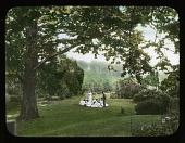 view [Breeze Hill]: Couple; girls; under tree in garden. digital asset: [Breeze Hill] [lantern slide]: Couple; girls; under tree in garden.