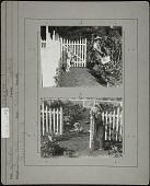view Breeze Hill: Top photo: younger boy with Teddy bear (Raymond Scott Drayer) and older boy (Lee Drayer) with basket in vegetable garden. Bottom photo: younger boy on ground with wheel barrow and older boy at gate. digital asset: Breeze Hill: Top photo: younger boy with Teddy bear (Raymond Scott Drayer) and older boy (Lee Drayer) with basket in vegetable garden. Bottom photo: younger boy on ground with wheel barrow and older boy at gate.