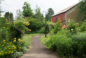 view [Bloomfield Farm House]: The walkway leads from the parking area past garden borders to the 19th century barn. digital asset: [Bloomfield Farm House]: The walkway leads from the parking area past garden borders to the 19th century barn.