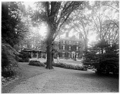 view [John Brown House]: the house and grounds as seen from Benefit Street. digital asset: [John Brown House] [glass negative]: the house and grounds as seen from Benefit Street.