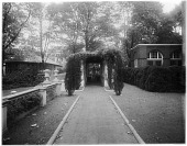 view [John Brown House]: pergola on the grounds of the house. digital asset: [John Brown House] [glass negative]: pergola on the grounds of the house.