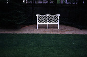 view [Rochambeau House]: a French-style garden bench, restored in 2000, in a gravel semicircle digital asset: [Rochambeau House]: a French-style garden bench, restored in 2000, in a gravel semicircle: 2000 May.
