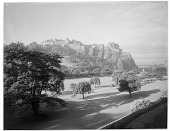 view [Princes Street Gardens]: looking across the gardens toward Edinburgh Castle. digital asset: [Princes Street Gardens] [glass negative]: looking across the gardens toward Edinburgh Castle.