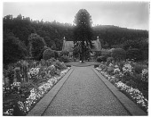 view [Miscellaneous Sites in Scotland]: an unidentified garden with a rustic cottage. digital asset: [Miscellaneous Sites in Scotland] [glass negative]: an unidentified garden with a rustic cottage.