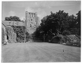 view [Miscellaneous Sites in Scotland]: Kelso Abbey, showing its Romanesque west tower. digital asset: [Miscellaneous Sites in Scotland] [glass negative]: Kelso Abbey, showing its Romanesque west tower.