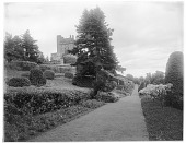 view [Drummond Castle]: looking along a walkway with the castle in the upper left. digital asset: [Drummond Castle] [glass negative]: looking along a walkway with the castle in the upper left.