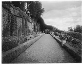 view [Drummond Castle]: stone retaining wall and garden borders. digital asset: [Drummond Castle] [glass negative]: stone retaining wall and garden borders.