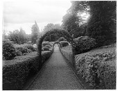 view [Drummond Castle]: a garden walkway with arbor arches and dense shrub plantings. digital asset: [Drummond Castle] [glass negative]: a garden walkway with arbor arches and dense shrub plantings.