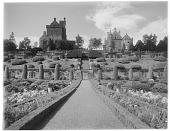 view [Drummond Castle]: looking up toward the castle from the parterre garden. digital asset: [Drummond Castle] [glass negative]: looking up toward the castle from the parterre garden.