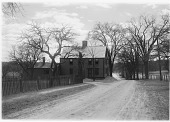 view [Unidentified Sites]: a farmhouse, attached barn, and road in an unidentified location. digital asset: [Unidentified Sites] [glass negative]: a farmhouse, attached barn, and road in an unidentified location.
