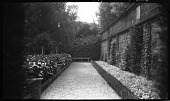 view [Unidentified Sites]: a garden and stone wall in an unidentified location. digital asset: [Unidentified Sites] [negative]: a garden and stone wall in an unidentified location.