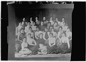 view Unidentified Group of Women: an unidentified group of women, probably a college class. digital asset: Unidentified Group of Women [glass negative]: an unidentified group of women, probably a college class.