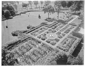 view [Unidentified Garden]: birdseye view of formal garden with lawn and house on left side. digital asset: [Unidentified Garden] [photonegative]: birdseye view of formal garden with lawn and house on left side.