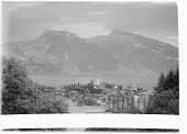 view [Miscellaneous Sites in Switzerland]: looking across the Thunersee from Spiez to the Ralligstock (left) and Niederhorn (right). digital asset: [Miscellaneous Sites in Switzerland] [glass negative]: looking across the Thunersee from Spiez to the Ralligstock (left) and Niederhorn (right).