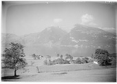view [Miscellaneous Sites in Switzerland]: looking across the Thunersee near Spiez to the Ralligstock (left) and Niederhorn (right). digital asset: [Miscellaneous Sites in Switzerland] [glass negative]: looking across the Thunersee near Spiez to the Ralligstock (left) and Niederhorn (right).