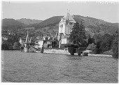 view [Miscellaneous Sites in Switzerland]: Oberhofen Castle on the Thunersee. digital asset: [Miscellaneous Sites in Switzerland] [glass negative]: Oberhofen Castle on the Thunersee.