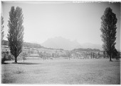 view [Miscellaneous Sites in Switzerland]: an unidentified location near the Thunersee, with the Stockhorn mountain range in the distance. digital asset: [Miscellaneous Sites in Switzerland] [glass negatives]: an unidentified location near the Thunersee, with the Stockhorn mountain range in the distance.