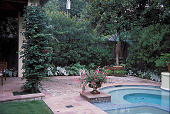 view [Small Garden]: covered patio near pool. digital asset: [Small Garden]: covered patio near pool.: 2002 Sep.