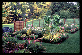 view [Christopher Place]: three southern beds in farmhouse garden. digital asset: [Christopher Place]: three southern beds in farmhouse garden.: 1997 Aug.