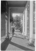view [Bougemont]: the portico/porch, looking toward the formal garden. digital asset: [Bougemont] [glass negative]: the portico/porch, looking toward the formal garden.