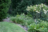 view [Michael Garden]: mixed garden border with edging of nineteenth-century paving bricks and ironwork. digital asset: [Michael Garden]: mixed garden border with edging of nineteenth-century paving bricks and ironwork.: 2012 Aug.
