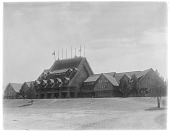 view [Miscellaneous Sites]: Old Faithful Inn in Yellowstone National Park. digital asset: [Miscellaneous Sites] [glass negative]: Old Faithful Inn in Yellowstone National Park.