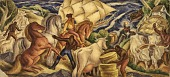 view South County Life in the Days of the Narragansett Planters (mural study, Wakefield, Rhode Island Post Office) digital asset number 1