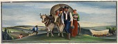 view Pioneers Arriving in Marshall by Wagon Trains (mural study, Marshall, Minnesota Post Office) digital asset number 1