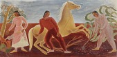 view Cherokee Indian Farming and Animal Husbandry (mural study, Stilwell, Oklahoma Post Office) digital asset number 1