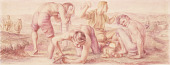 view Mealtime, The Early Coal Miners (study for Plymouth, Pennsylvania Post Office Mural) digital asset number 1