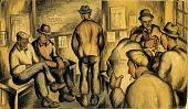 view Men Waiting (mural study, Seattle, Washington Marine Hospital) digital asset number 1