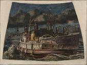 view Atlantic Liner in Harbor with Tug (mural study, U.S. Customs House, New York, New York) digital asset number 1