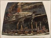 view Atlantic Liner in Harbor with Tugs (mural study, U.S. Customs House, New York, New York) digital asset number 1
