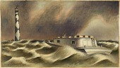 view Mail to Cape Lookout (mural study, Beaufort, North Carolina Post Office) digital asset number 1