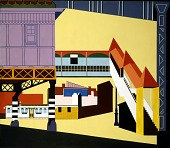 "view Sixth Avenue ""L"" (mural, Williamsburg Housing Project, New York) digital asset number 1"
