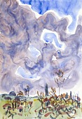 view Watercolor no. 31, Landscape with Clouds digital asset number 1