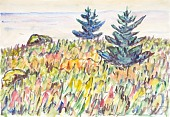view Watercolor no. 35, Field with Two Pine Trees digital asset number 1