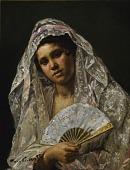 view Spanish Dancer Wearing a Lace Mantilla digital asset number 1
