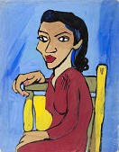 view Woman in Red Dress on Yellow Chair digital asset number 1
