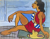 view Seated Woman in Red Playsuit digital asset number 1