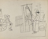 view Farm Scenes--Woman at Well, Children on Cart digital asset number 1