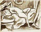 view Reclining Female Nude with Table digital asset number 1