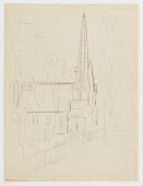view (Untitled--Sketch of Church) {rectoA}; (Untitled--Sketches of Tombstones) {versoB} digital asset number 1